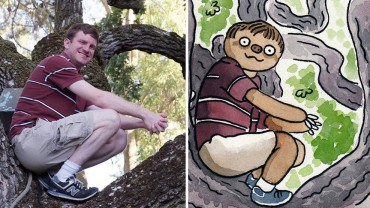 Narysował karykatury 50 przypadkowych osób z Facebooka, zamieniając je… w leniwce! Genialne!