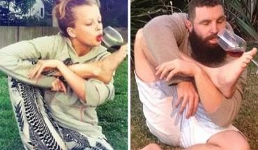 Brodaty facet parodiuje zdjęcia profilowe i selfies kobiet, znalezione za pośrednictwem aplikacji Tinder