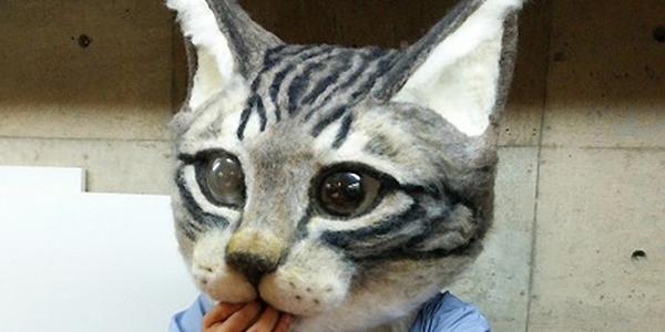 Pamiętasz zdjęcia ludzi w masce konia, które zalały internet? Oto godny następca! Maska kota.