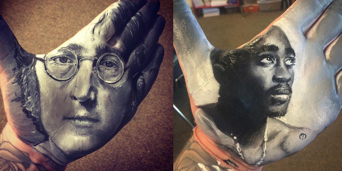 Ten nauczyciel zamiast malować bezpośrednio na papierze, maluje portrety na wewnętrznej stronie dłoni. Wow!