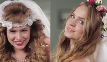 W kilka minut pokazała różnice w ślubnych  fryzurach na przestrzeni lat