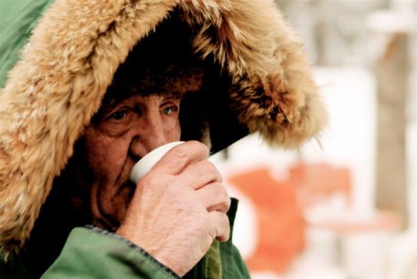 Grandpa with fur coat