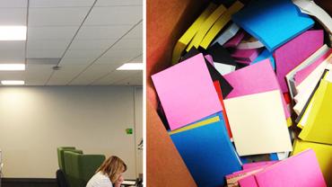 Był znudzony patrzeniem na puste ściany w biurze. Kupił 9.000 samoprzylepnych karteczek i zrobił z nimi coś niesamowitego! WOW!