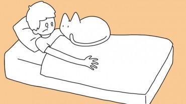 10 pozycji, w których kot śpi z człowiekiem