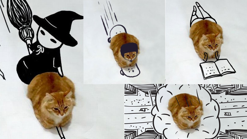 Internauci dorysowali swoje pomysły do zdjęcia kota i tak powstał zbiór zabawnych obrazków.