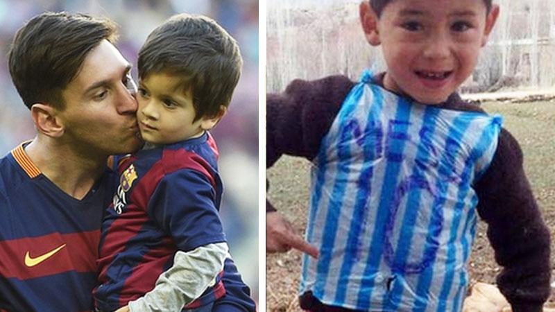 Mały chłopczyk zrobił sobie z reklamówki koszulkę Messiego. Piłkarz szybko zareagował na to, co zobaczył!