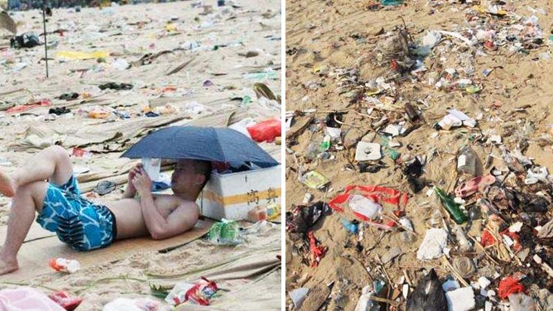Zdjęcia chińskiej plaży, które przyprawiają o mdłości. Odradzamy podróż do tego kraju!