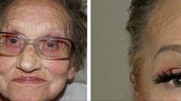 80-latka poprosiła wnuczkę o wykonanie profesjonalnego makijażu. Gdy zobaczysz tę metamorfozę, opadnie ci szczęka!