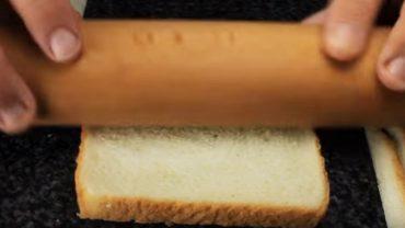 Wzięła wałek i rozwałkowała chleb tostowy. Gdy zobaczysz, co włożyła w środek i jak wygląda całe danie, nie oprzesz się mu!