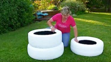Pomalowała na biało trzy opony samochodowe i postawiła je w ogrodzie. Gdy to zobaczysz, zrobisz to samo!
