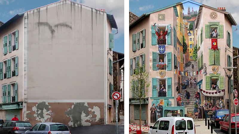 Przekształca smutne budynki w małe dzieła sztuki. Zobacz zdjęcia przed i po!