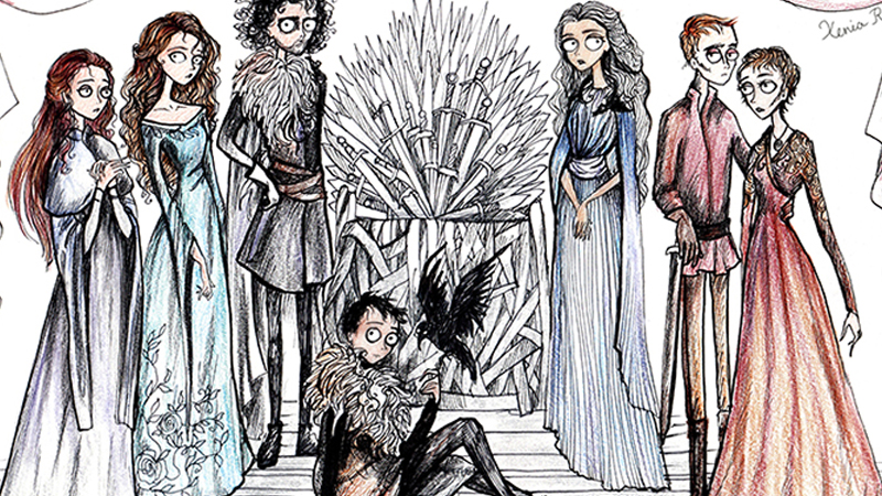 """Jak wyglądaliby bohaterowie """"Gry o tron"""", gdyby narysował ich Tim Burton? Oto odpowiedź!"""