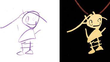 Dziecięce rysunki jako biżuteria. Pomysłowy człowiek znalazł sposób na oryginalne uwiecznienie dzieł najmłodszych!