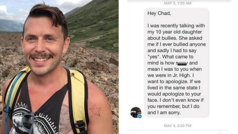 20 lat po tym jak był dręczony w szkole, dostał wiadomość, która doprowadziła go do łez