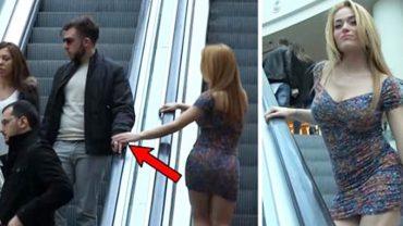 Wyjątkowo atrakcyjna kobieta dotykała żonatych mężczyzn w centrum handlowym. Ciężko się nie uśmiechnąć patrząc na zachowanie niektórych panów