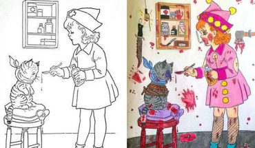 Dorośli ludzie dokańczają dziecięce kolorowanki. Ich fantazja okazała się być nieco chora i przerażająca