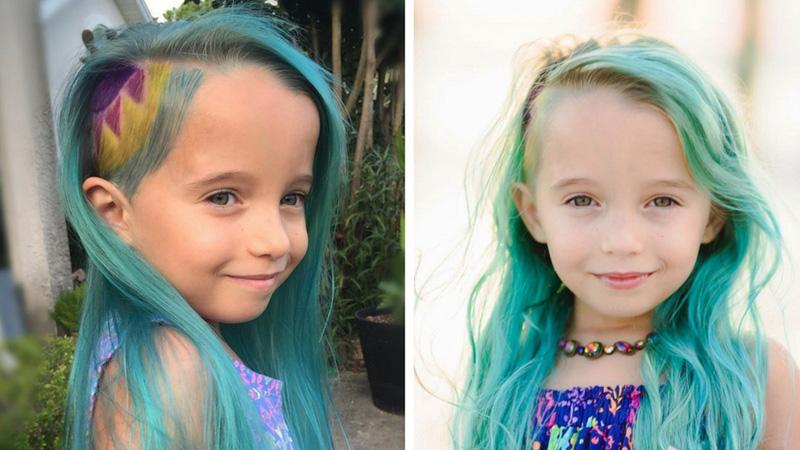 Fryzjerka wykonała córce fryzurę jednorożca. Poszła z takimi włosami na rozpoczęcie roku szkolnego