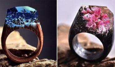 Te ręcznie robione pierścienie urzekają ukrytymi w nich krajobrazami i stanowią bardzo oryginalną ozdobę dłoni