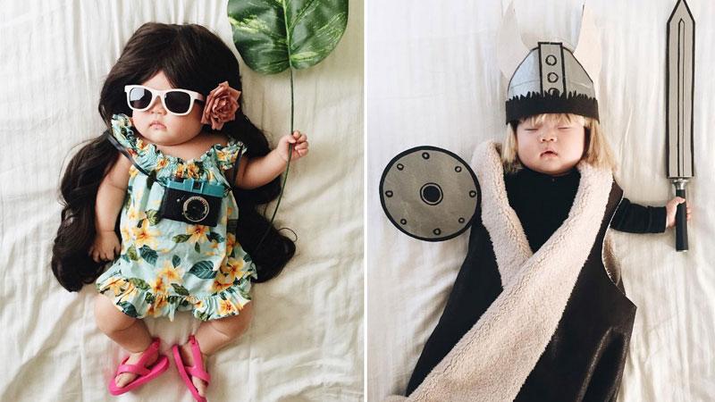 Laura Izumikawa czas snu swojej córki wykorzystujena robienie jej nietuzinkowych fotek. Wszystkim dzieciom życzymy tak kreatywnych mam