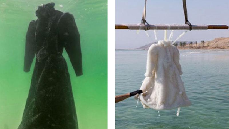 Artystka Sigalit Landau na 2 lata zanurzyła suknię w Morzu Martwym, by ją fotografować. Efekt jej pracy jest unikatowy