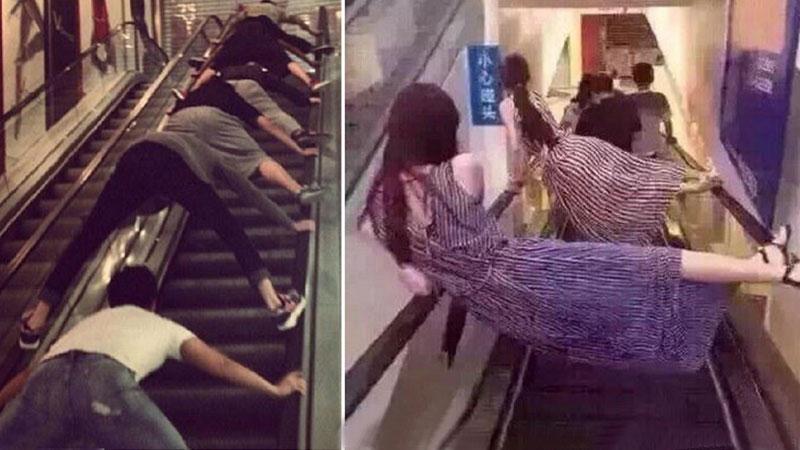 Coraz więcej Chińczyków ulega panice i omija ruchome schody lub jeździ nimi przyjmując dziwne pozycje. Powodem jest seria tragicznych wypadków