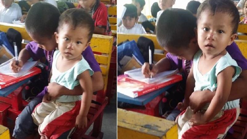 Każdego dnia zabiera na lekcje swojego młodszego braciszka. Przyczyna jego postępowania jest bardzo smutna