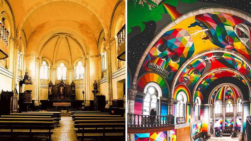 """""""Kaos Temple"""" to 100-letni hiszpański kościół przerobiony na skatepark! Jego kolorowe wnętrze wprawia w osłupienie"""