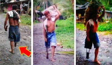 Mężczyzna z jedną nogą codziennie przebywa 2 km z ciężarem, który złamałby zdrowego człowieka. Wszystko po to, by mieć za co żyć!