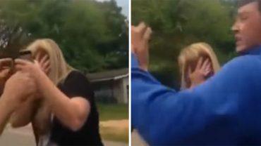 Mężczyzna uderzył w twarz swoją partnerkę! Na reakcję syna nie trzeba było długo czekać