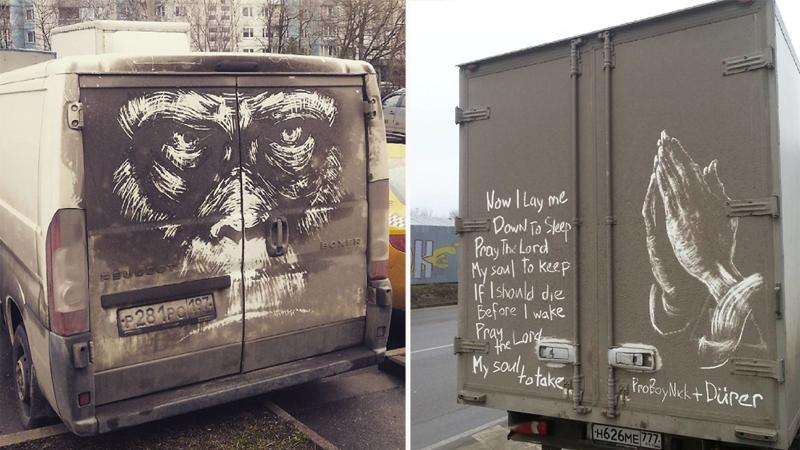Ten rosyjski artysta zmienia brudne samochody w dzieła sztuki. Uważaj, twoje auto może być następne!