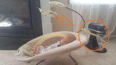 Leniwa matka przymocowała dziecięcą kołyskę do miksera, bo nie chciało jej się bujać malucha. Internauci nie zostawili na niej suchej nitki!
