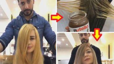 Fryzjer zamiast na włosy swojej klientki nałożyć farbę, wysmarował je Nutellą! Efekt jaki osiągnął jest piorunujący