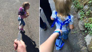 Chcąc upilnować córeczkę, przywiązał jej plecak do smyczy. Część internautów go skrytykowała, inni…pochwalili