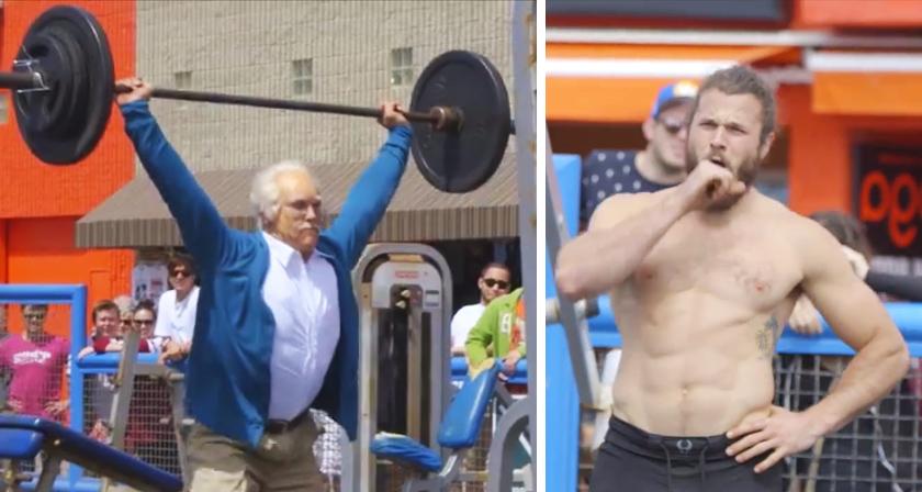 Mięśniacy ćwiczyli na plaży, prężąc swe muskuły, gdy nagle zjawił się ten staruszek i skradł im całe przedstawienie!