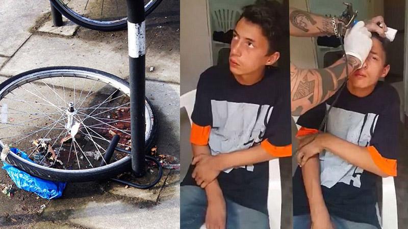 Tatuator złapał złodzieja roweru i sprezentował mu darmowy tatuaż, by każdy wiedział z kim ma do czynienia. Miał rację czy przesadził?