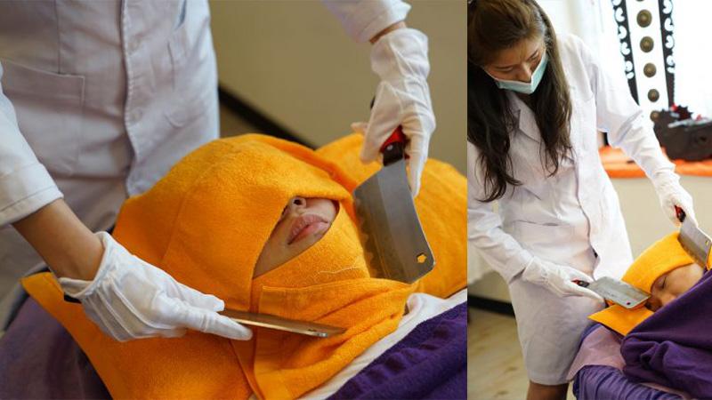 Stres boi się noży! Pewna Tajwanka twierdzi, że jej masaże z użyciem tasaków działają kojąco na zestresowanych, spiętych klientów!