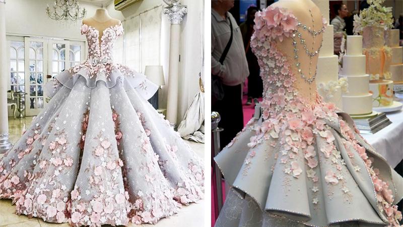 Ta elegancka suknia ślubna kryje pewien sekret, który nie każdy jest w stanie zauważyć. Widzisz już, o co chodzi?