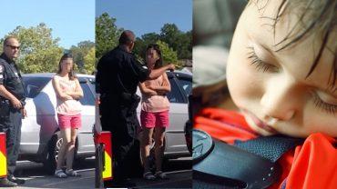 Zostawiła dzieci w rozgrzanym aucie, uważając, że to nic takiego! Oby słowa policjanta dotarły do jej mózgu!