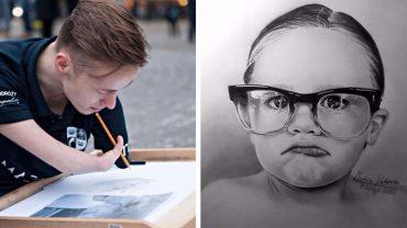 Realizm i precyzja tych rysunków są powalające, ale jeszcze bardziej powala fakt, że ich autorem jest Mariusz, chłopak który urodził się bez rąk
