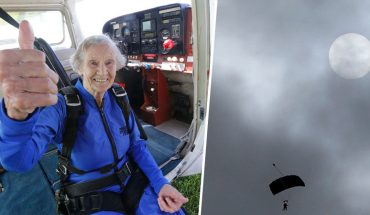 """""""Jeśli się boisz, żyjesz na pół gwizdka"""" – mówi 88-letnia staruszka, która zamarzyła sobie skoczyć ze spadochronem! Z dołu kibicowali jej młodsi członkowie rodziny"""