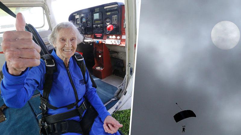 """""""Jeśli się boisz, żyjesz na pół gwizdka"""" - mówi 88-letnia staruszka, która zamarzyła sobie skoczyć ze spadochronem! Z dołu kibicowali jej młodsi członkowie rodziny"""
