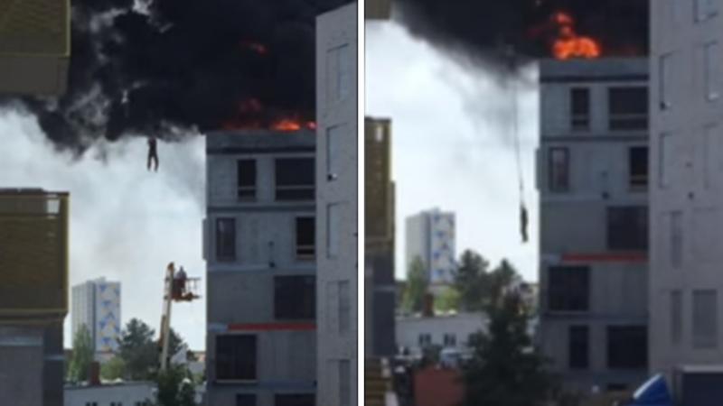W Danii pożar uwięził w budynku mężczyznę. Strażacy nie mogli do niego dotrzeć, więc z pomocą przyszedł... budowlaniec z dźwigiem!