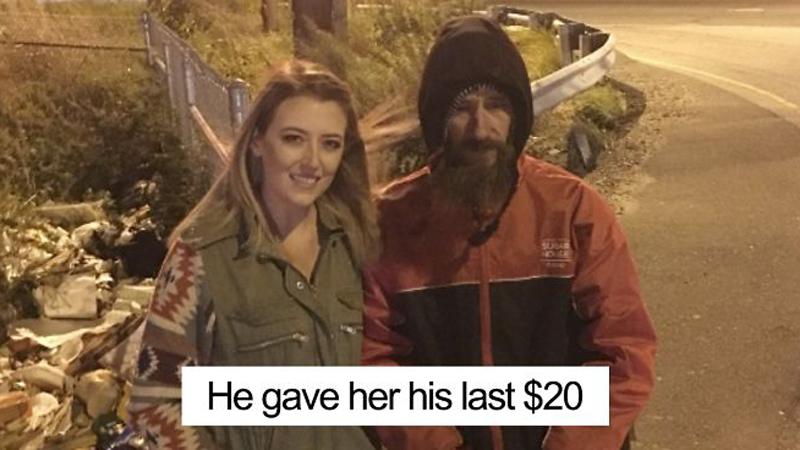 Bezdomny dał ostatnie 20 dolarów nieznajomej w potrzebie. Po miesiącu kobieta oddała mu sumę, o której nie mógł nawet śnić