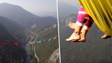 Wynieśli relaks na ekstremalny poziom. Zawiśli 200 metrów nad ziemią tylko po to, by poleżeć w hamaku!