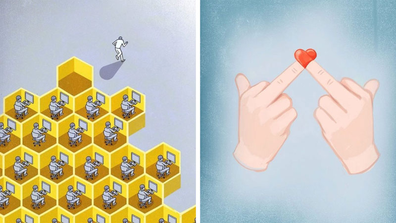10 rysunków, które pokazują, jak absurdalne jest życie w XXI wieku. Zgadzacie się z nimi?