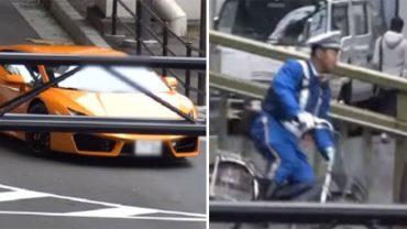 Policjant widzi auto przejeżdżające na czerwonym świetle i rusza w pościg. Ku zdziwieniu wszystkich mundurowy jadąc rowerem dogania luksusoweLamborghini!