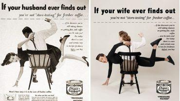 Fotograf odtworzył retro reklamy, ale tym razem role zostały zmienione. Jak czują się mężczyźni, gdy zajmą miejsce kobiet?
