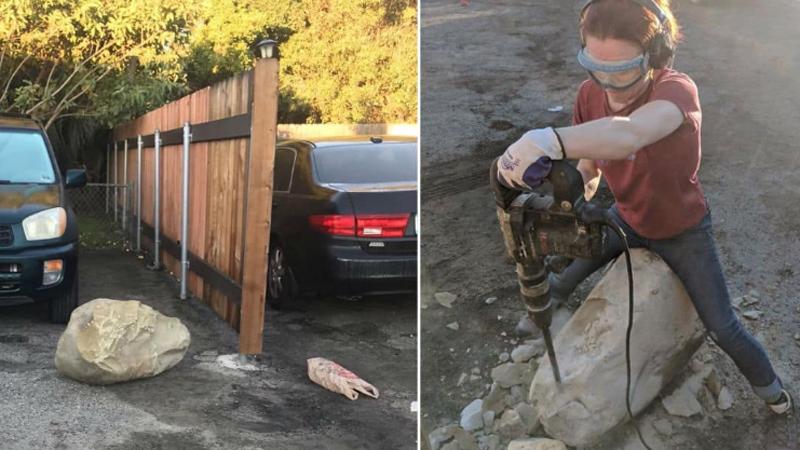 Zemściła się na sąsiadach, którzy zablokowali jej samochód ogromnym głazem. Rano czekała ich nieprzyjemna niespodzianka