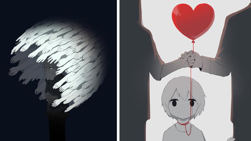 10 mrocznych ilustracji, które pokazują prawdziwe uczucia. O tych sprawach łatwiej się maluje, niż mówi