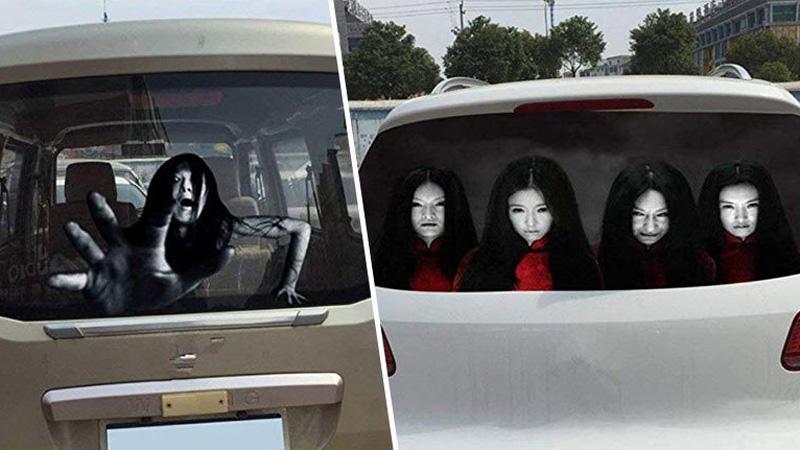 Kierowcy kupują przerażające naklejki, aby odstraszyć piratów drogowych. Zgadnijcie jak to działa